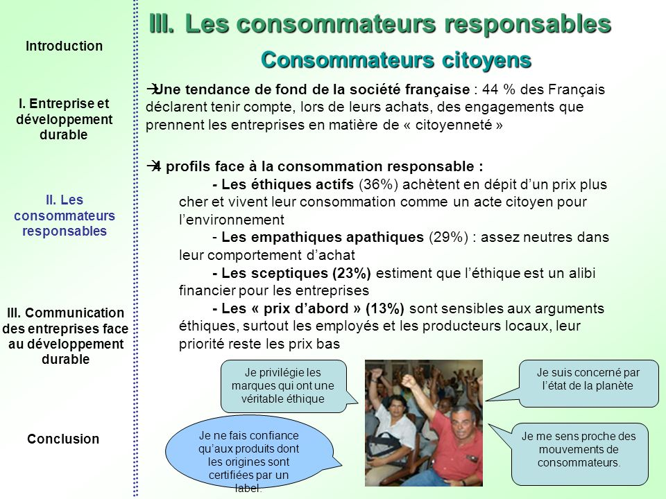 III. Les consommateurs responsables