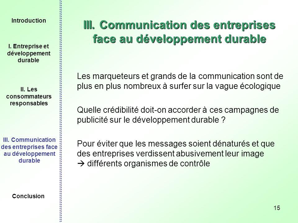 III. Communication des entreprises face au développement durable