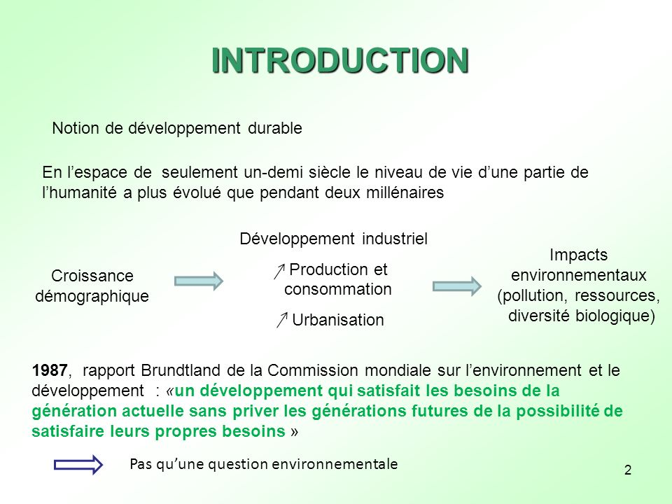 INTRODUCTION Notion de développement durable
