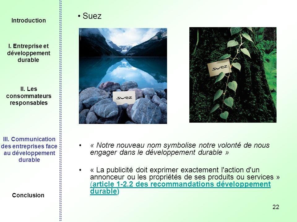 Introduction I. Entreprise et développement durable. II. Les consommateurs responsables.