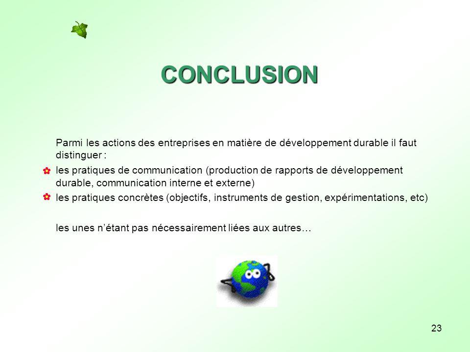 CONCLUSION Parmi les actions des entreprises en matière de développement durable il faut distinguer :