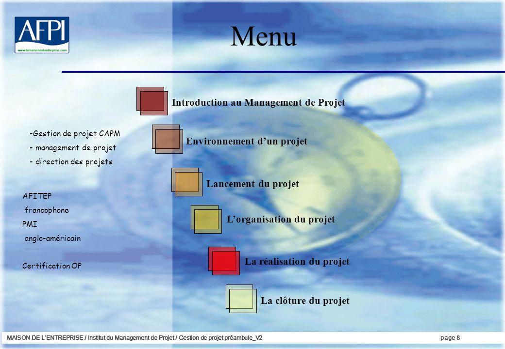 Menu Introduction au Management de Projet Environnement d'un projet