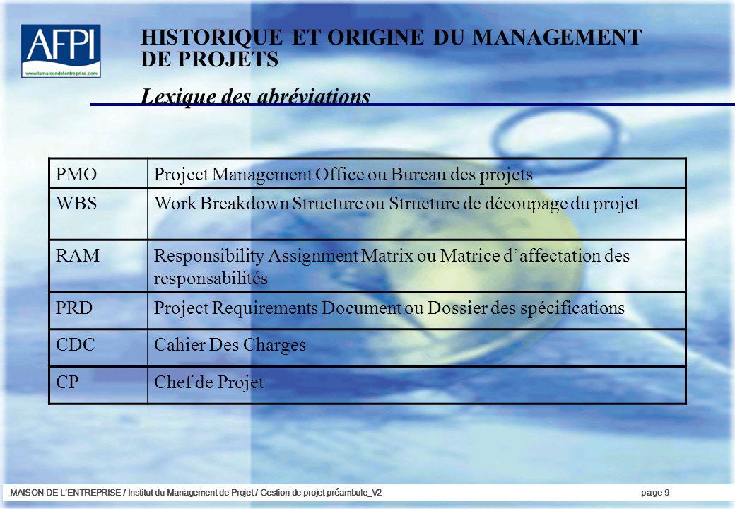 HISTORIQUE ET ORIGINE DU MANAGEMENT DE PROJETS