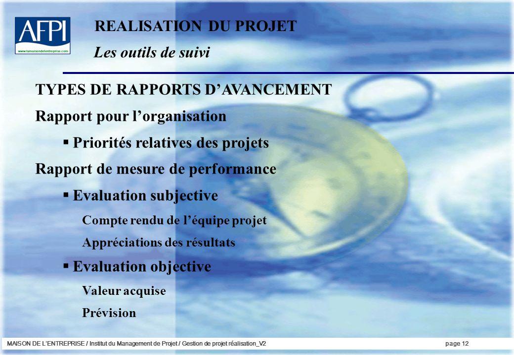 TYPES DE RAPPORTS D'AVANCEMENT