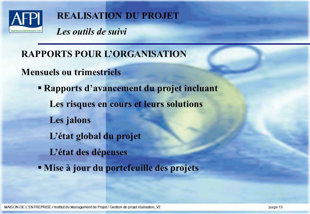 RAPPORTS POUR L'ORGANISATION