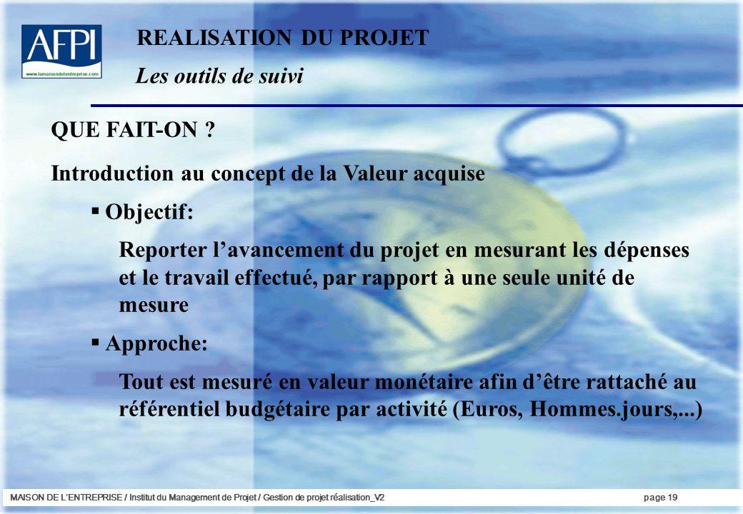 Introduction au concept de la Valeur acquise Objectif: