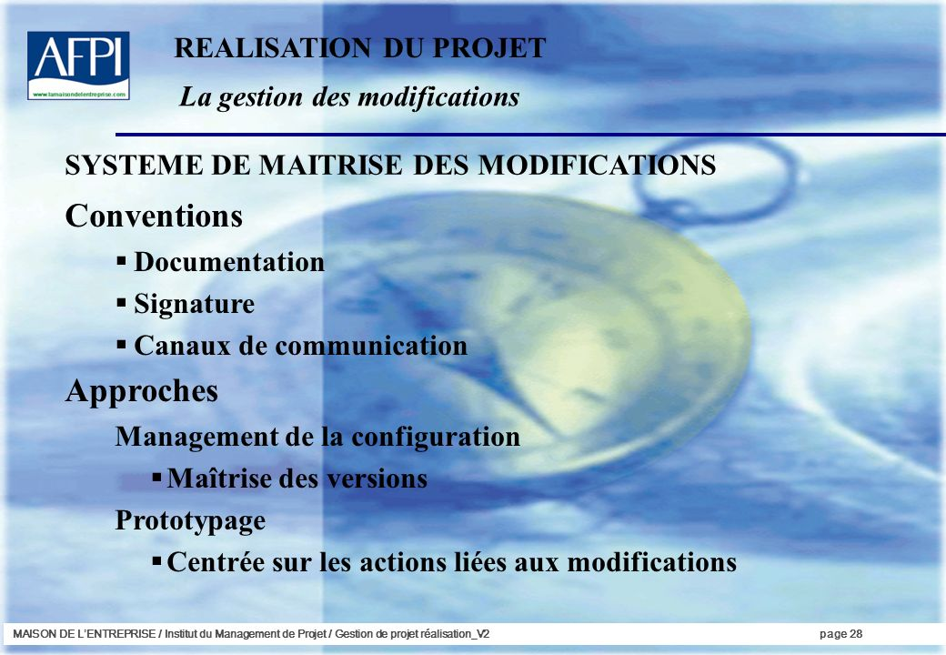 Conventions Approches REALISATION DU PROJET