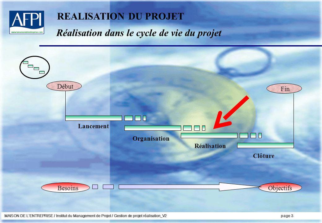 Réalisation dans le cycle de vie du projet