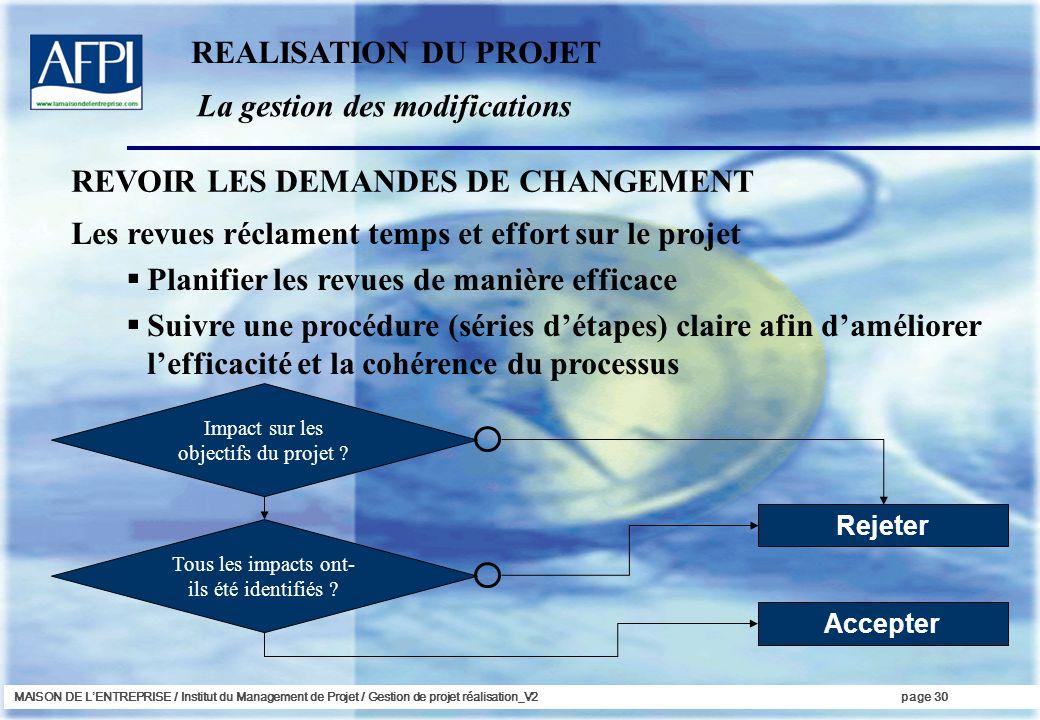 La gestion des modifications