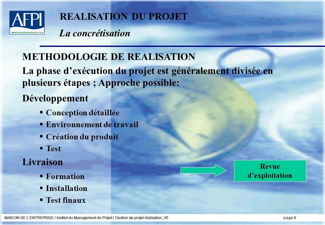 METHODOLOGIE DE REALISATION