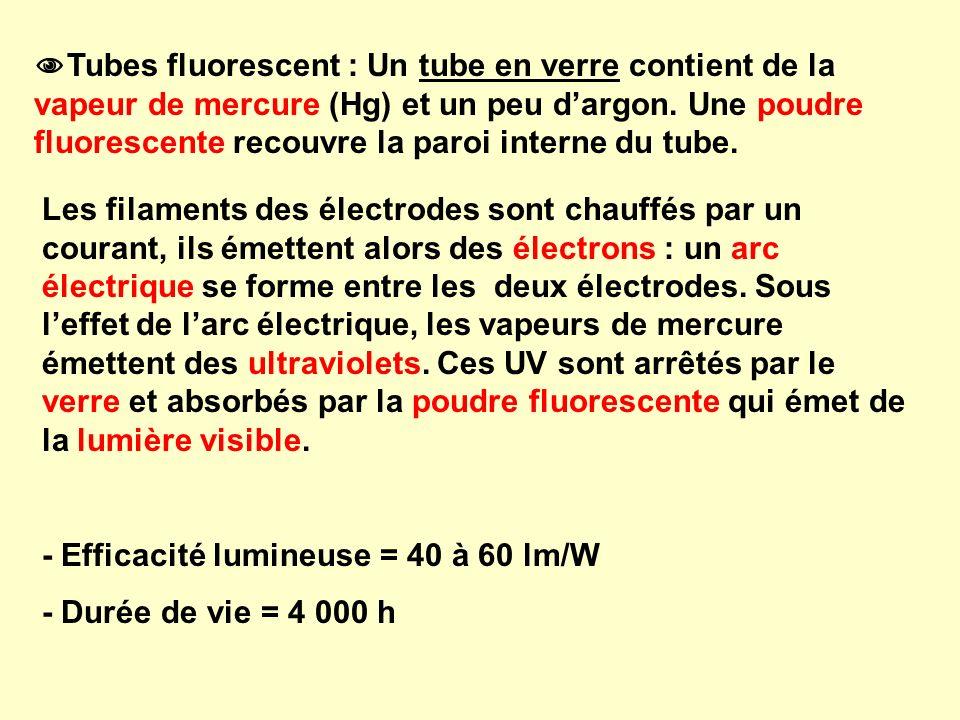 Tubes fluorescent : Un tube en verre contient de la vapeur de mercure (Hg) et un peu d'argon. Une poudre fluorescente recouvre la paroi interne du tube.