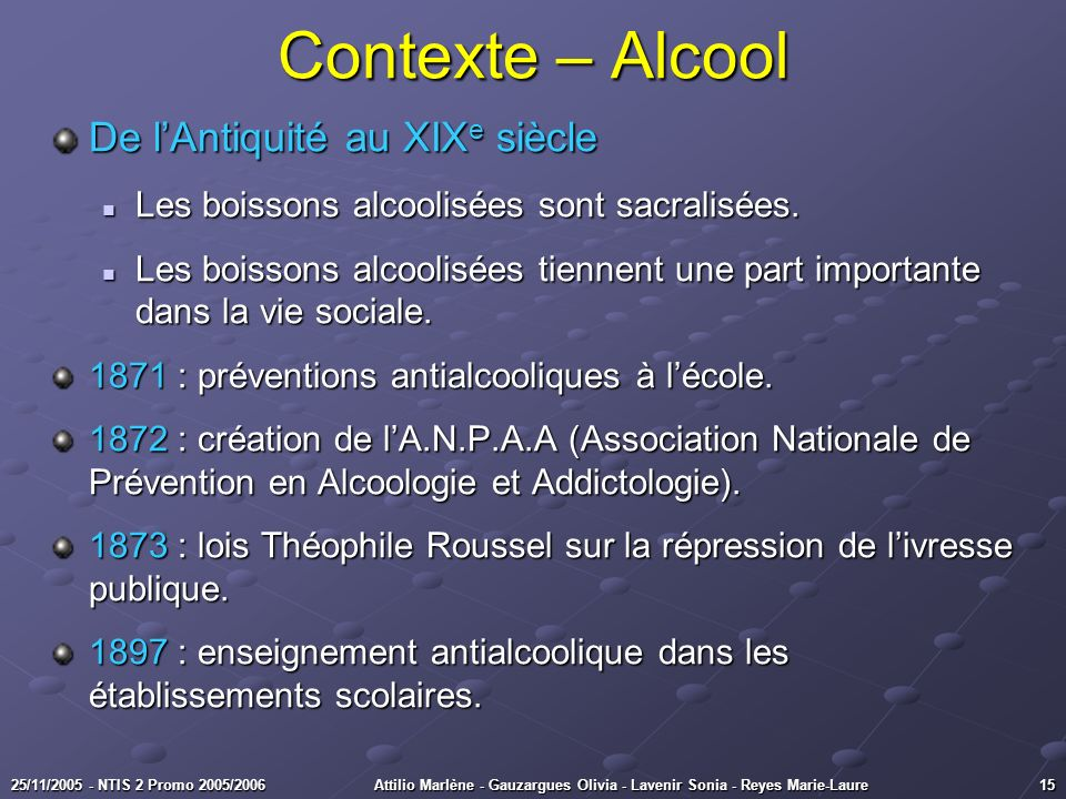 Contexte – Alcool De l'Antiquité au XIXe siècle