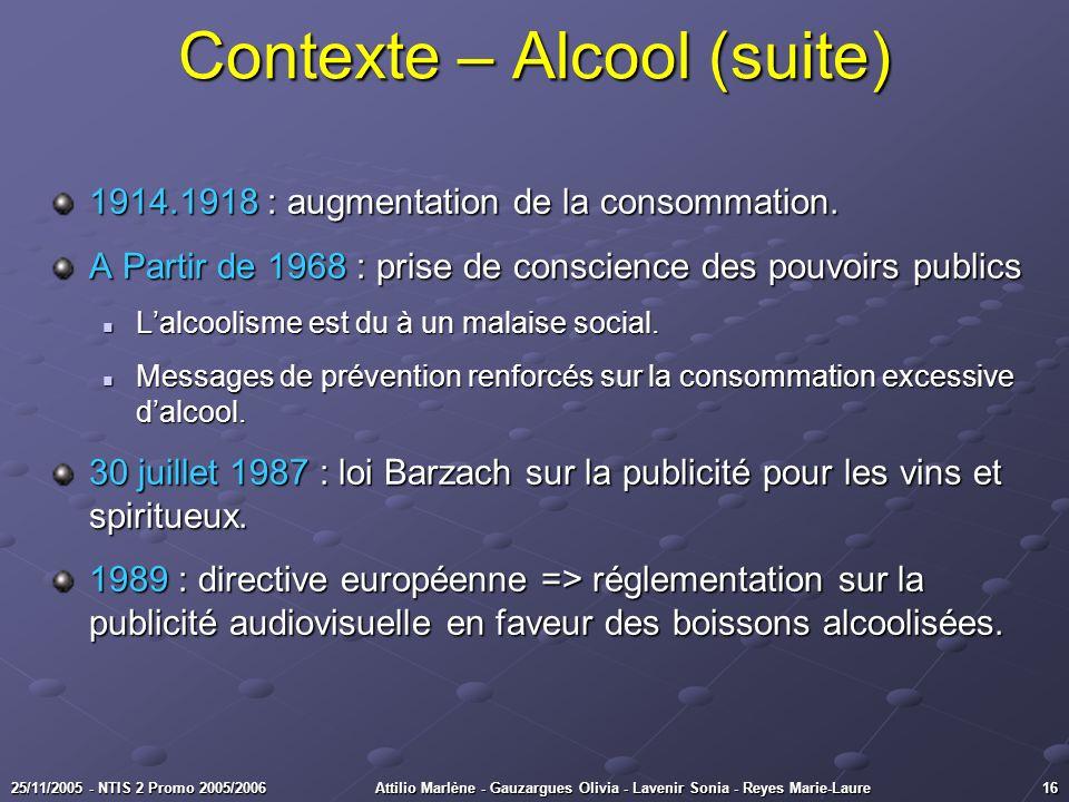 Contexte – Alcool (suite)