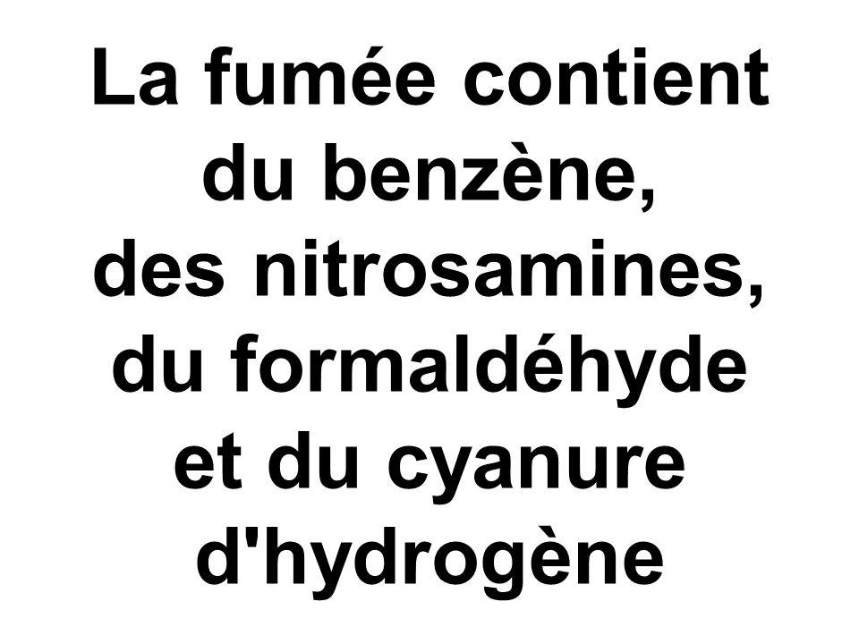 La fumée contient du benzène, des nitrosamines, du formaldéhyde et du cyanure d hydrogène