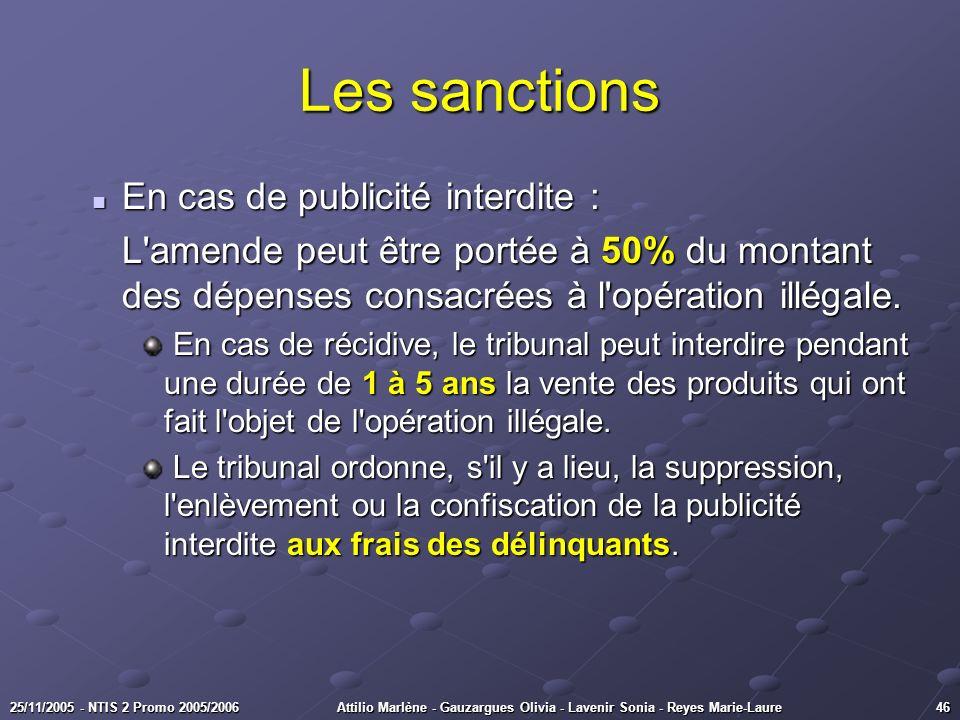 Les sanctions En cas de publicité interdite :