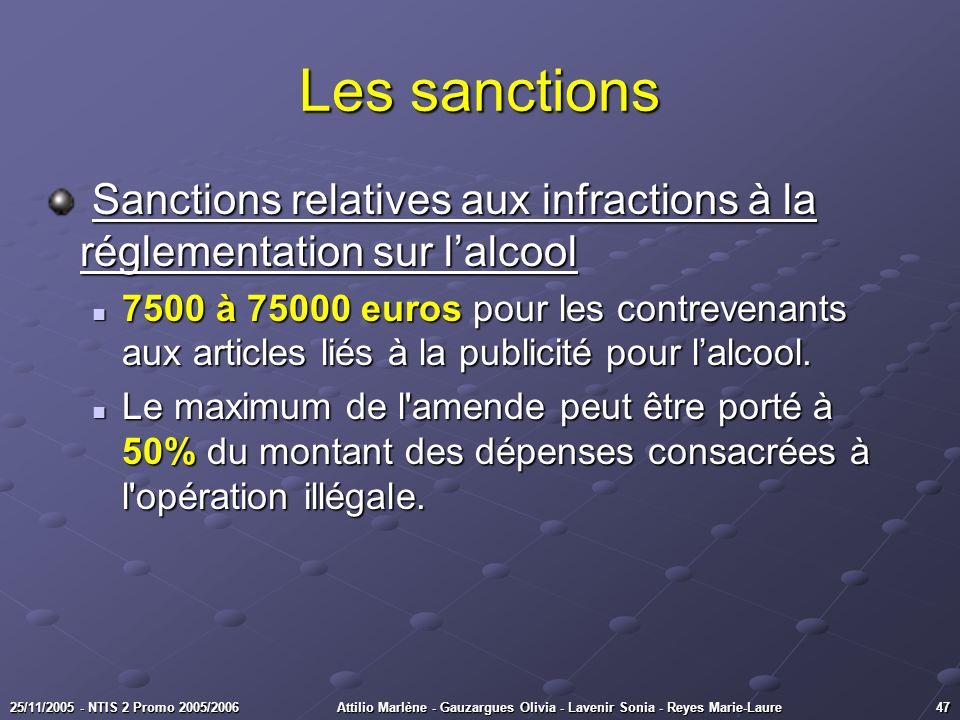 Les sanctions Sanctions relatives aux infractions à la réglementation sur l'alcool.
