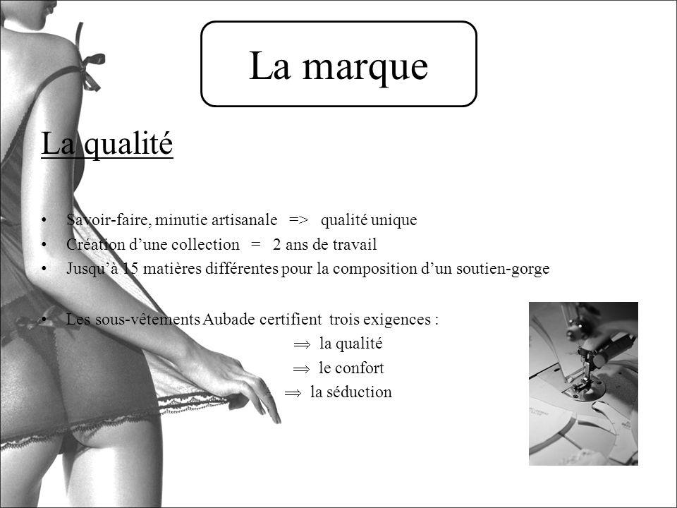 La marque La qualité. Savoir-faire, minutie artisanale => qualité unique. Création d'une collection = 2 ans de travail.