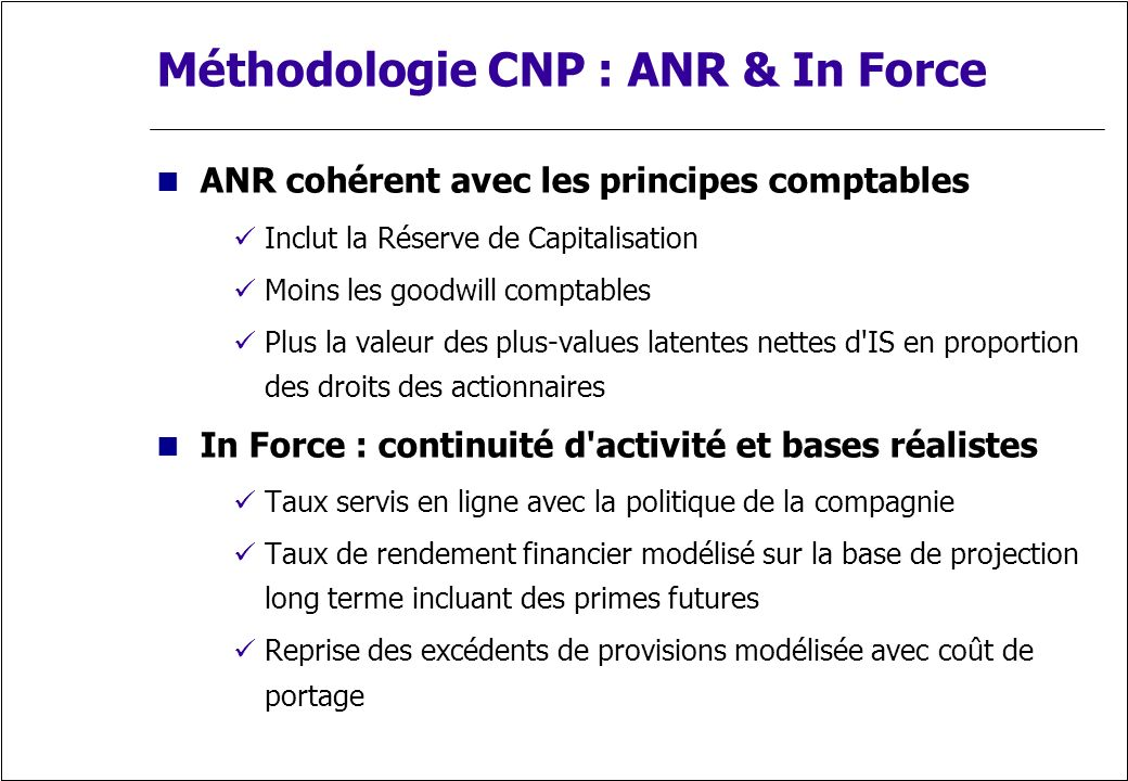 Méthodologie CNP : ANR & In Force