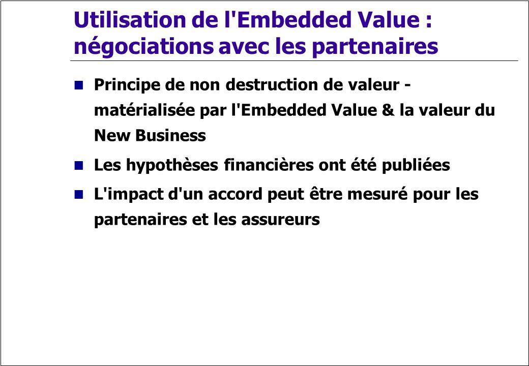 Utilisation de l Embedded Value : négociations avec les partenaires
