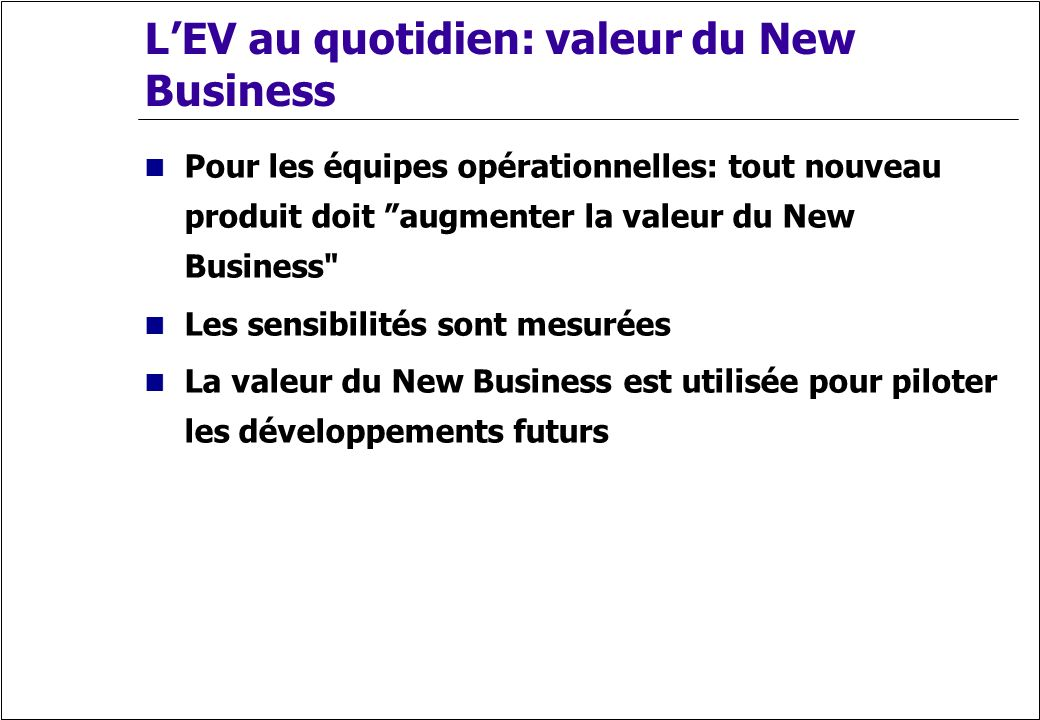 L'EV au quotidien: valeur du New Business