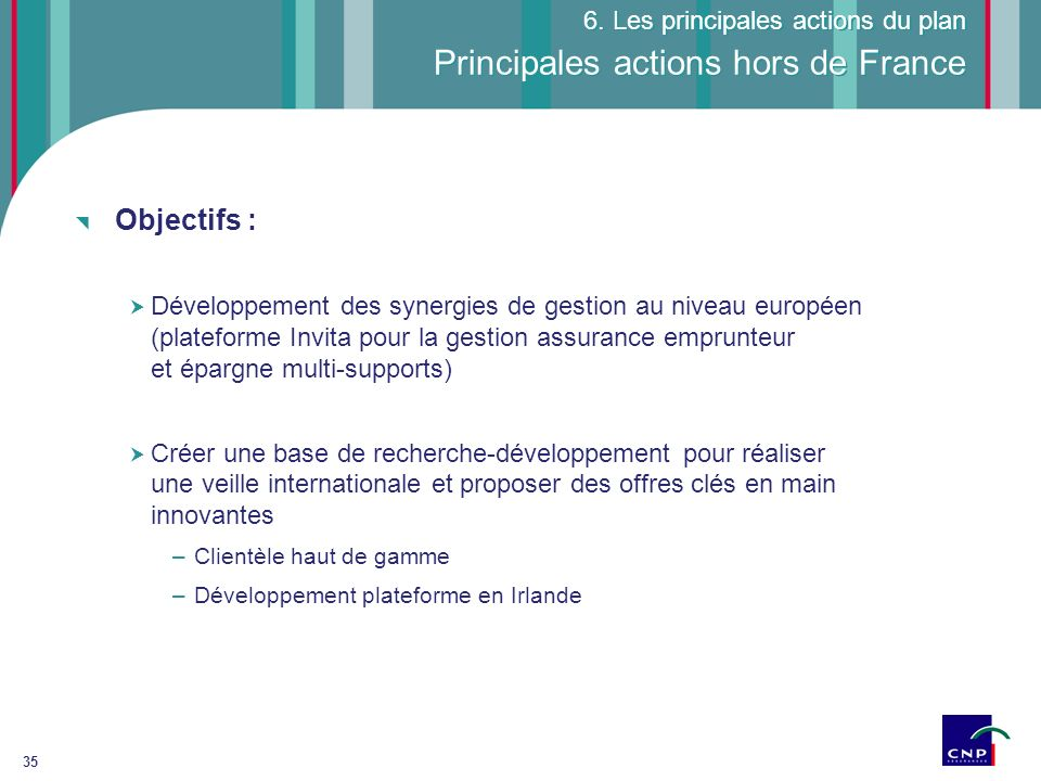 Principales actions hors de France