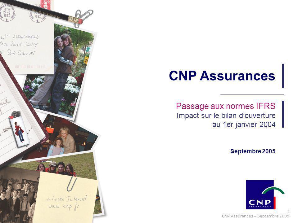 CNP Assurances Passage aux normes IFRS Impact sur le bilan d'ouverture au 1er janvier 2004.