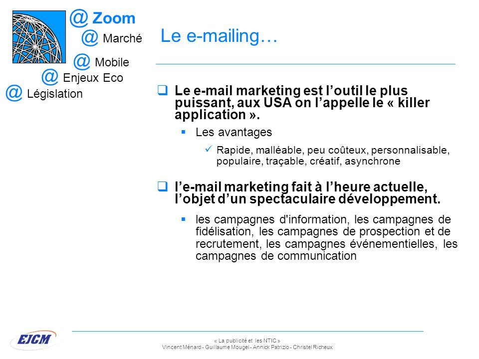 Zoom Le e-mailing… Marché. Mobile. Enjeux Eco. Législation.