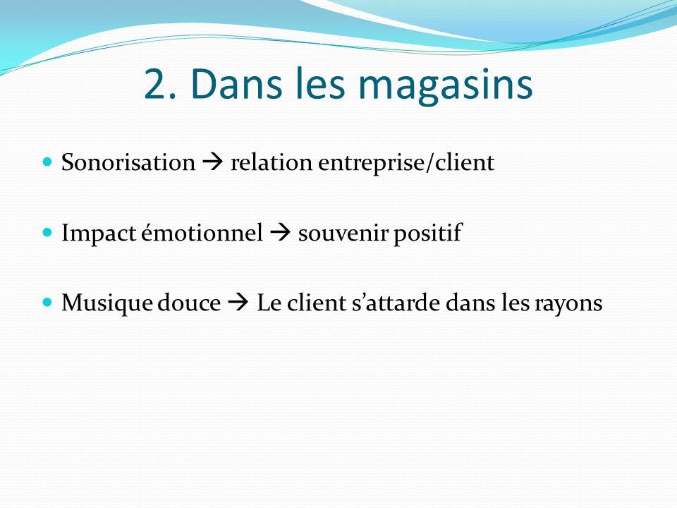 2. Dans les magasins Sonorisation  relation entreprise/client
