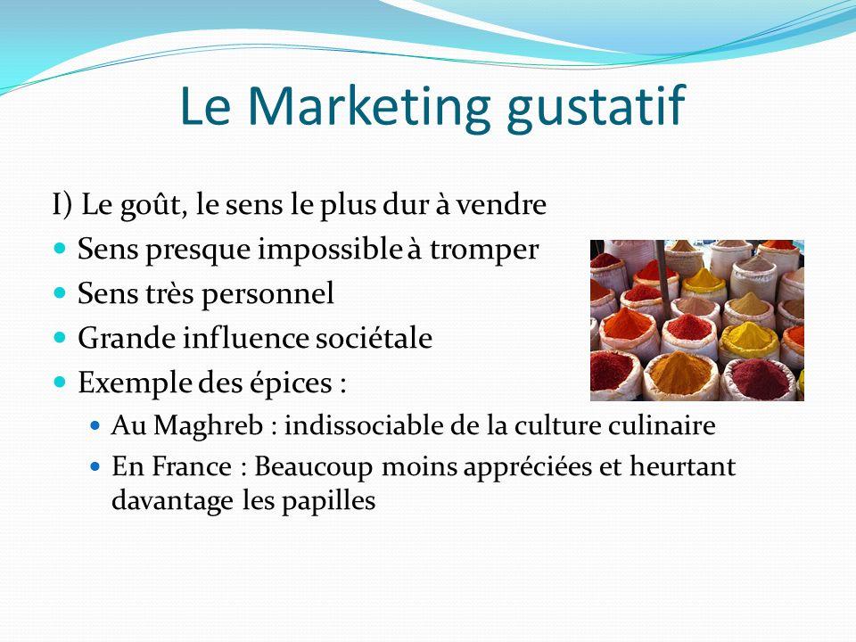 Le Marketing gustatif I) Le goût, le sens le plus dur à vendre
