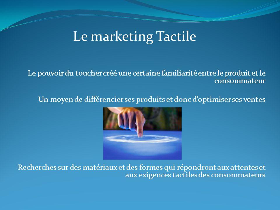 Le marketing Tactile Le pouvoir du toucher créé une certaine familiarité entre le produit et le consommateur.