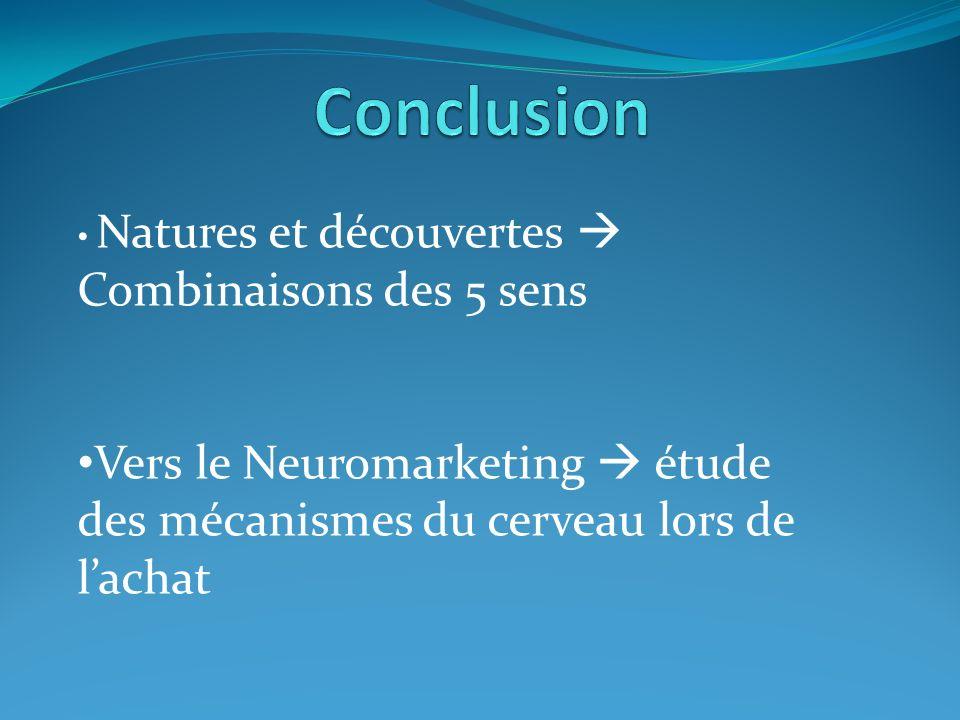 Conclusion Natures et découvertes  Combinaisons des 5 sens.