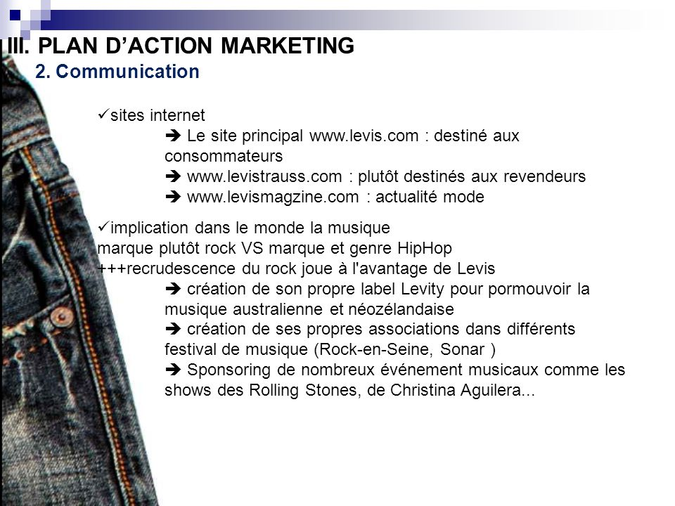 III. PLAN D'ACTION MARKETING