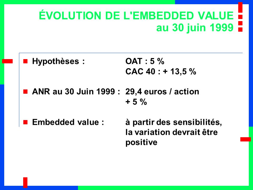 ÉVOLUTION DE L EMBEDDED VALUE au 30 juin 1999