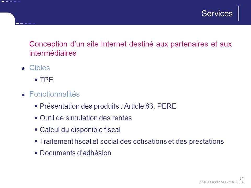 Services Conception d'un site Internet destiné aux partenaires et aux intermédiaires. Cibles. TPE.