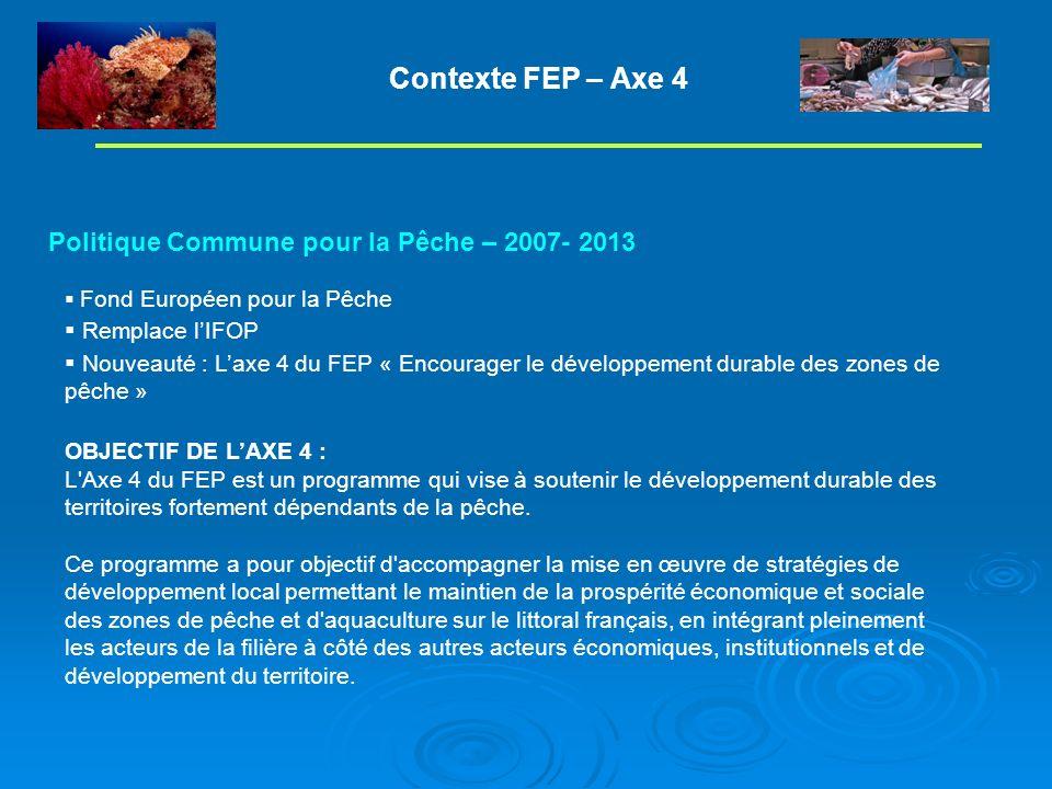 Contexte FEP – Axe 4 Politique Commune pour la Pêche – 2007- 2013