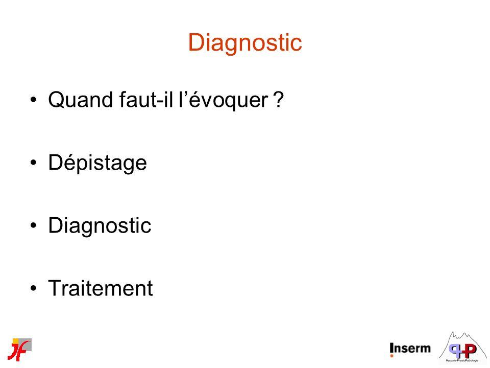 Diagnostic Quand faut-il l'évoquer Dépistage Diagnostic Traitement