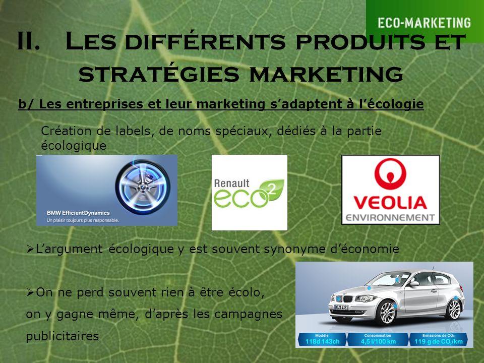 II. Les différents produits et stratégies marketing