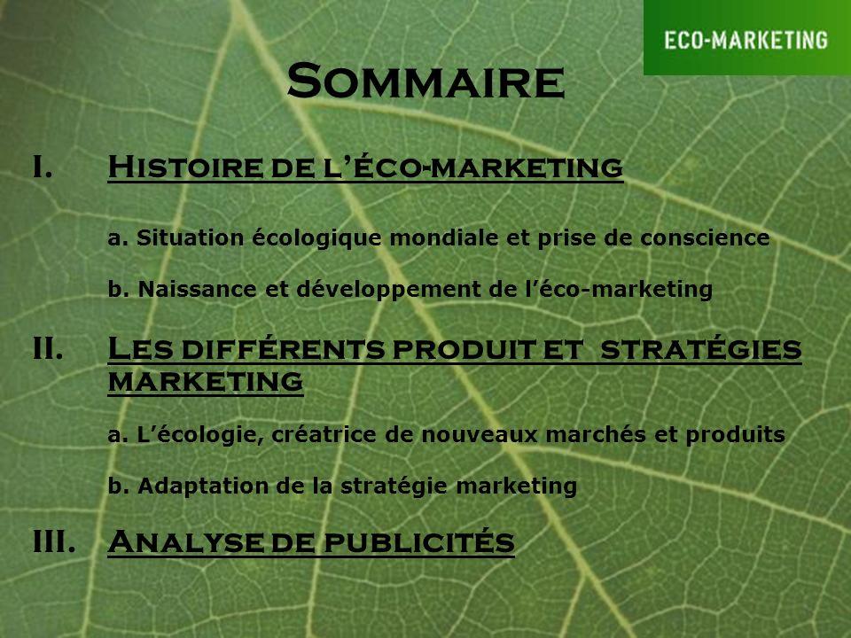Sommaire Histoire de l'éco-marketing