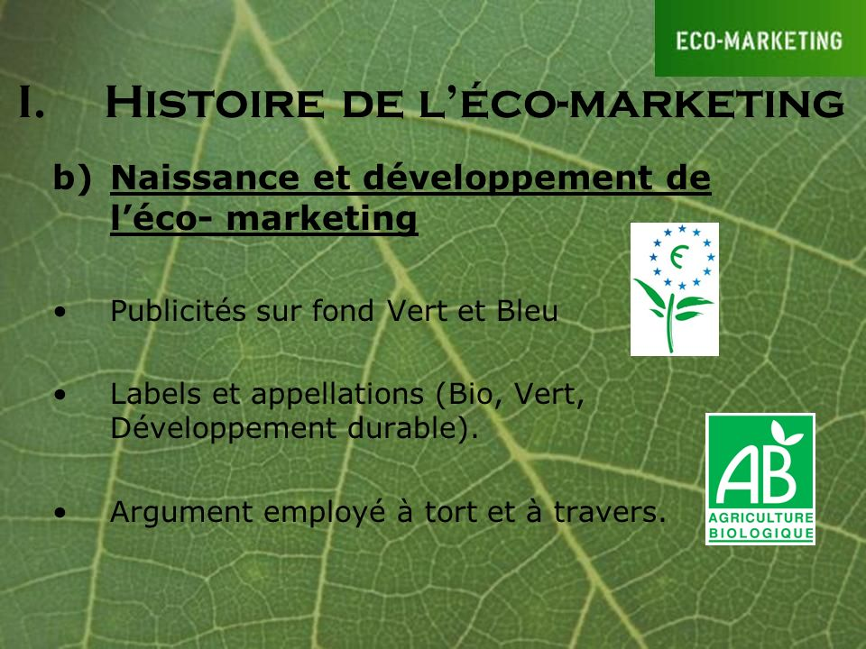 I. Histoire de l'éco-marketing