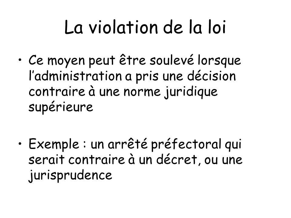 La violation de la loi Ce moyen peut être soulevé lorsque l'administration a pris une décision contraire à une norme juridique supérieure.