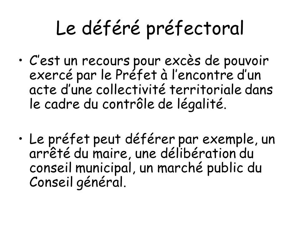 Le déféré préfectoral