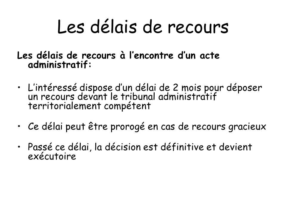 Les délais de recours Les délais de recours à l'encontre d'un acte administratif: