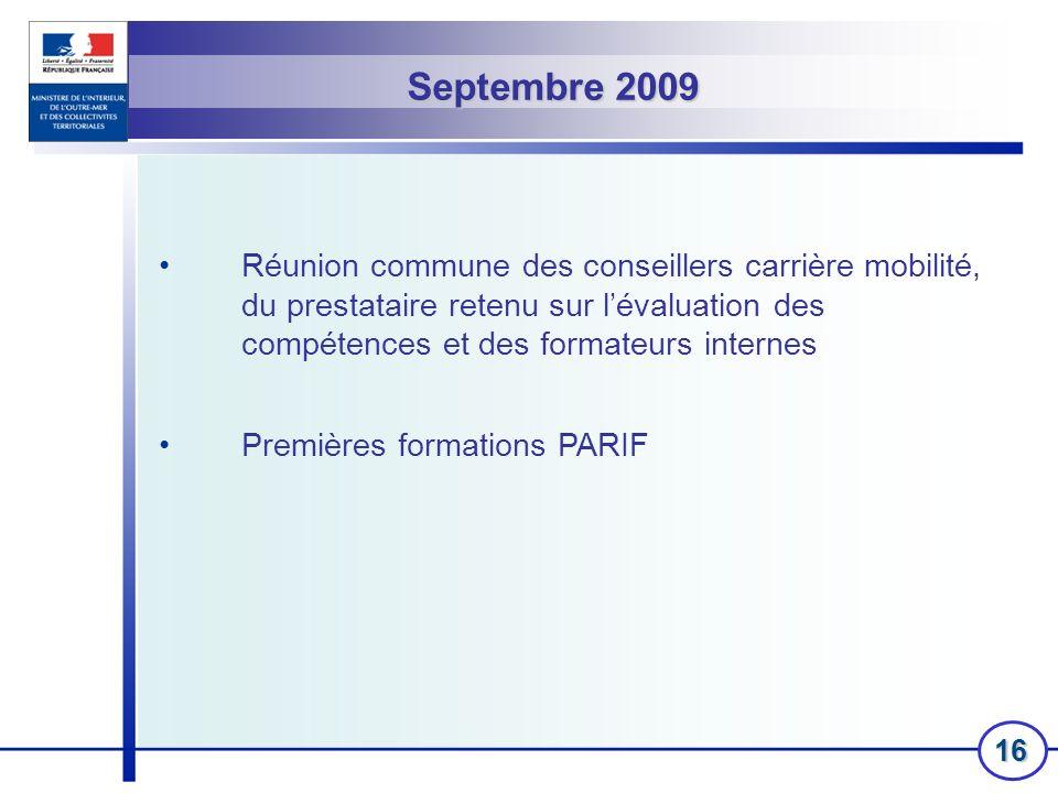Septembre 2009 Réunion commune des conseillers carrière mobilité, du prestataire retenu sur l'évaluation des compétences et des formateurs internes.