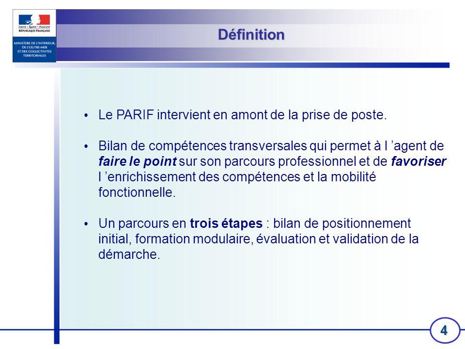 Définition Le PARIF intervient en amont de la prise de poste.