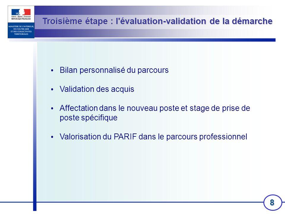 Troisième étape : l évaluation-validation de la démarche