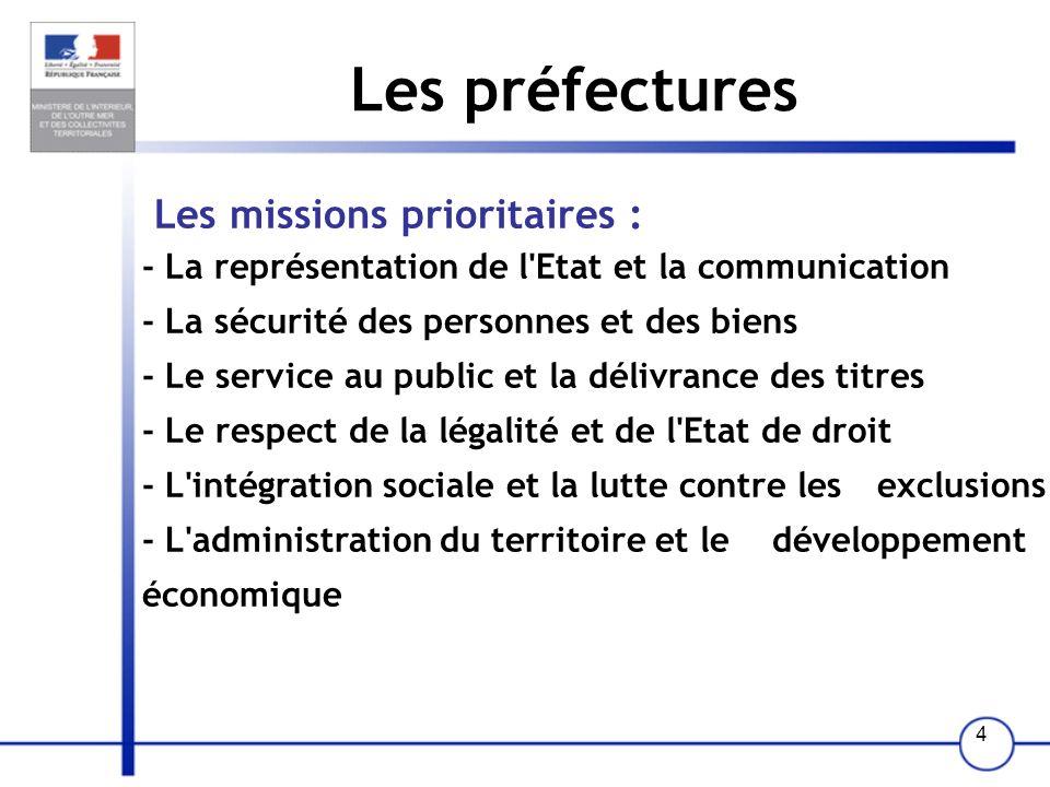 Les préfectures Les missions prioritaires :