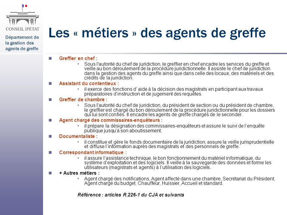 Les « métiers » des agents de greffe