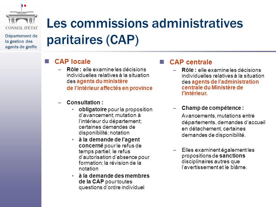 Les commissions administratives paritaires (CAP)