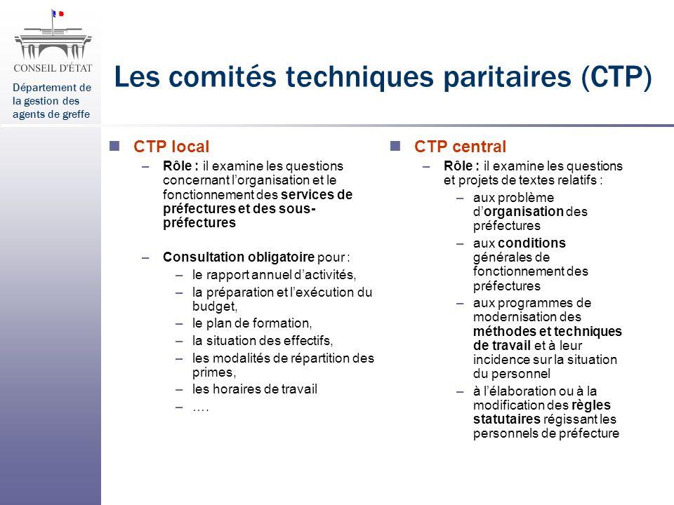 Les comités techniques paritaires (CTP)