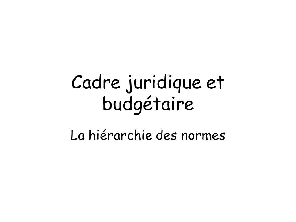 Cadre juridique et budgétaire